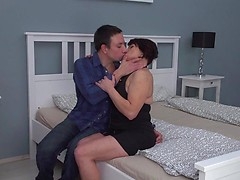 Naughty mature lady fucking and sucking her younger lover