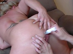 Two horny German lesbian houswives getting each other's pussies wet