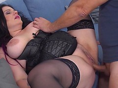 Chubby mama with big tits fucking and sucking