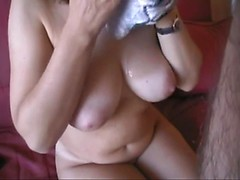 Mature wife makes blowjob and cumshot on her big boobs