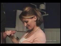 Real amateur sex with hot wife Cleo jerking off big cock in POV